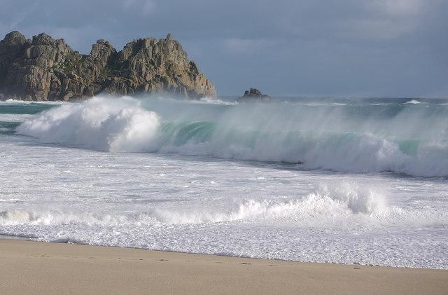 Waves on Porthcurno beach