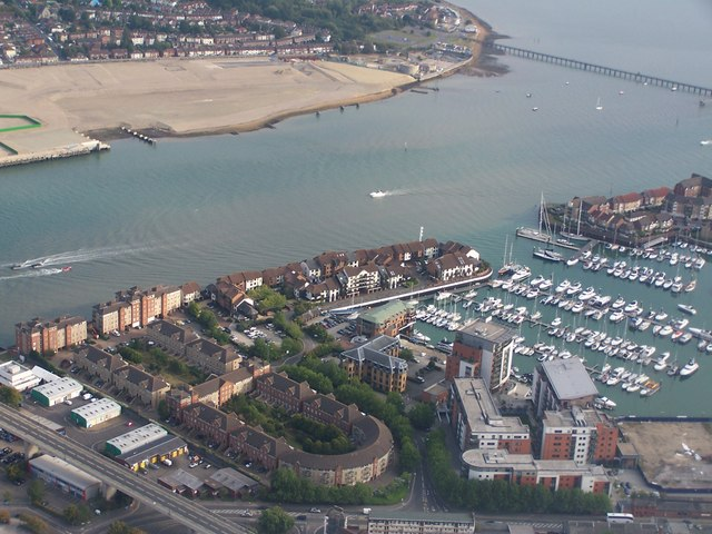 Aerial view over Ocean Village and the River Itchen