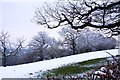 SP5510 : Snow covered field by Common Road by Steve Daniels