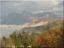 NY2807 : Langdale Pikes from the Holbeck Ghyll Hotel, Windermere by Ian Cunliffe