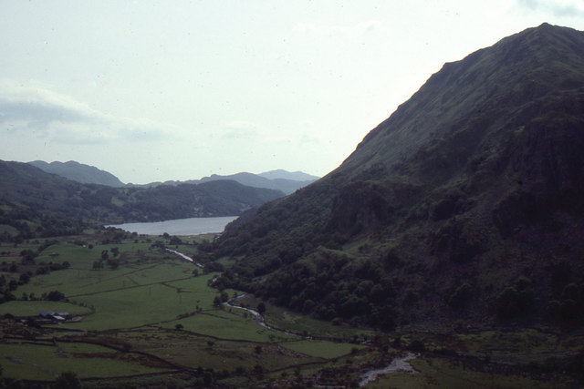 View down Nant Gwynant, from car park on the A498