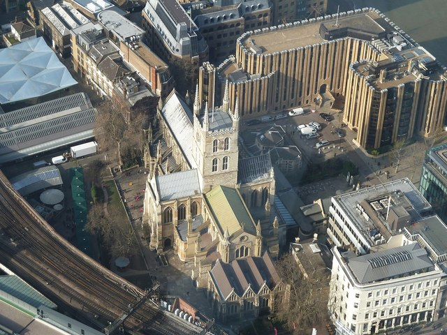 Southwark Cathedral from The Shard