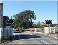 SO4383 : Barriers down and lights flashing, Long Lane level crossing, Craven Arms  by Jaggery
