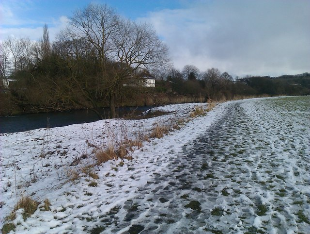 River Wear with snow on The Sands