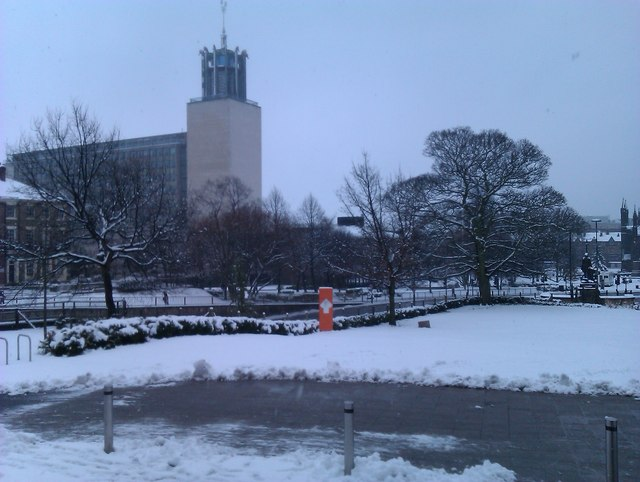 View towards Newcastle Civic Centre in the snow