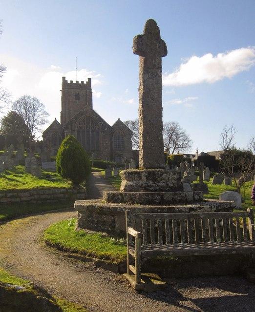 Cross and church, Chagford