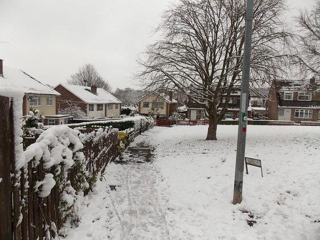 Snowy NW corner of Pilton Vale, Malpas, Newport