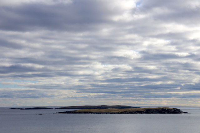 Isbister Holm and East Linga from Skaw, Whalsay