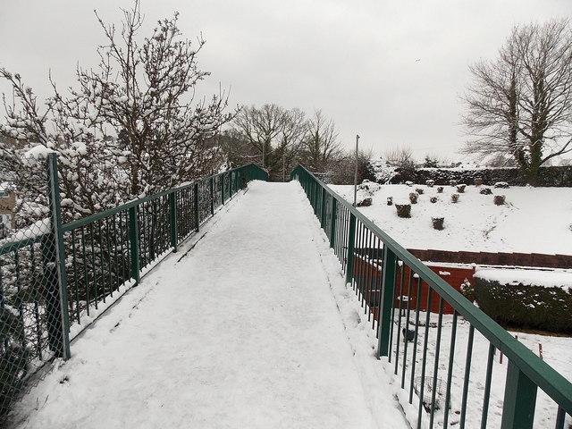 Snowy Pilton Vale footbridge, Malpas, Newport