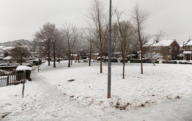 Snowy grass triangle, Pilton Vale, Malpas, Newport