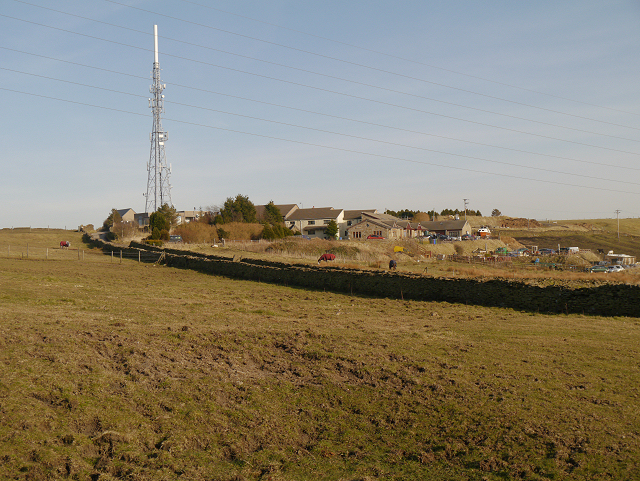 Laund Slack Farm and TV mast