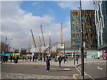 TQ3979 : View of the O2 from the path leading to the Emirates Air Line #2 by Robert Lamb
