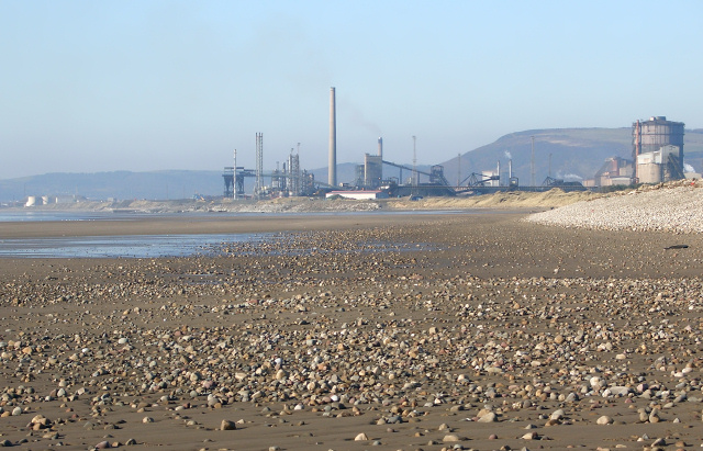 Port Talbot Steelworks viewed from Kenfig Sands