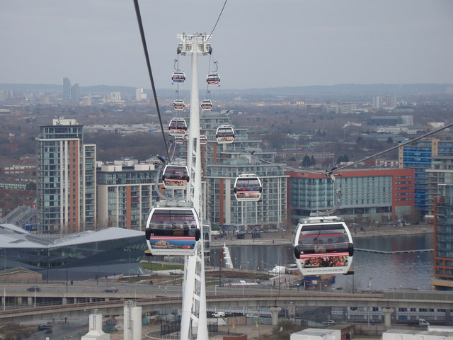 View of other cable cars and the Royal Docks from the Emirates Air Line