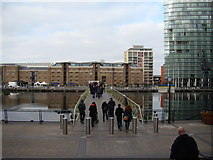 TQ3780 : View of the footbridge over West India Quay from Canary Wharf by Robert Lamb
