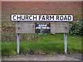 TM3973 : Church Farm Road sign by Adrian Cable