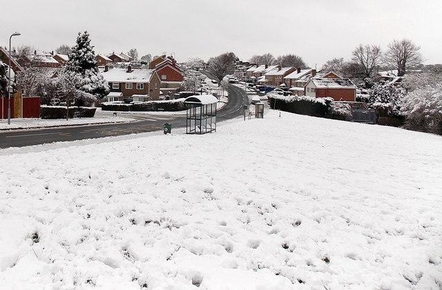 Rowan Way bus shelter and a snowy scene, Malpas, Newport