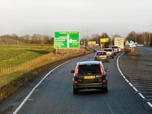 Eastbound A75 approaching Gretna