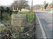 SE1421 : Public footpath sign on Toothill Bank by Humphrey Bolton