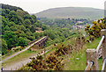 SS8696 : Eastward view up Cwm Afon valley from road descending into Cymmer, 1990 by Ben Brooksbank