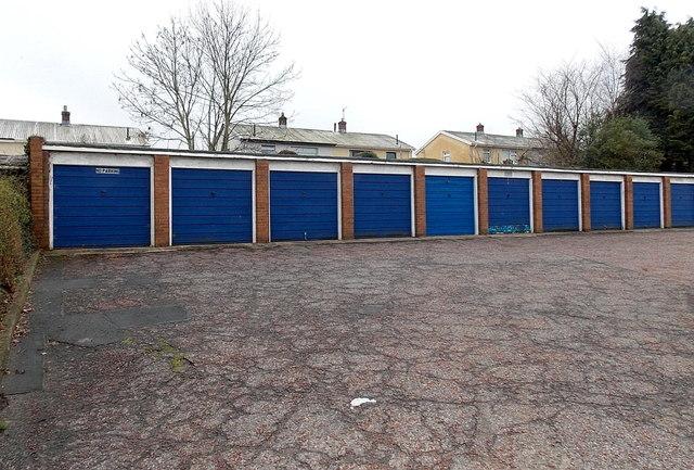 Royal blue lock-up garages, Nolton Place, Cwmbran