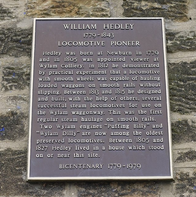 Hedley plaque, Woodcroft Road, Wylam