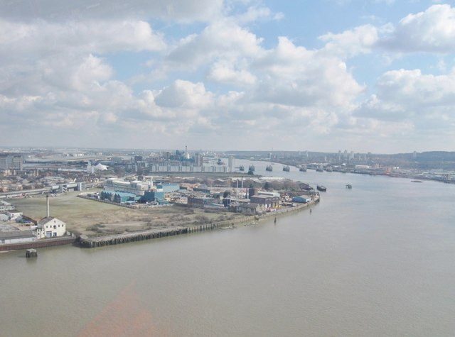 View South-east from The  Emirates Airline Thames cable car