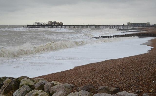Rough Sea by Hastings Pier