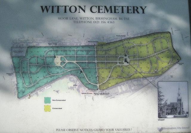 Plan Of Witton Cemetery B23  U00a9 Robin Stott    Geograph