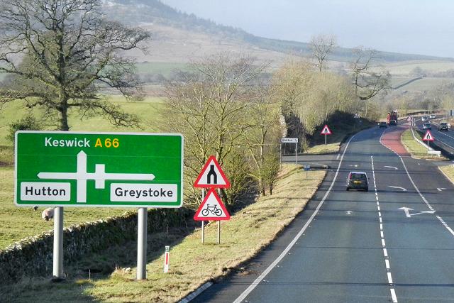 Westbound A66 near Hutton