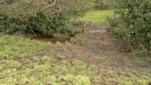 Crossing the stream below Collyhole Farm