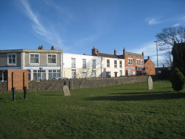 The churchyard and houses in Victoria Street, Burnham on Sea