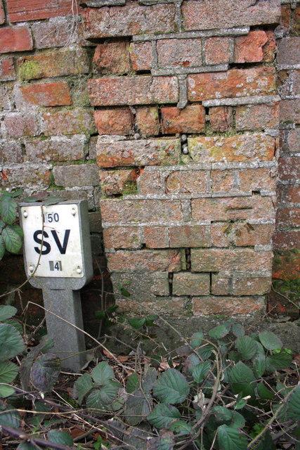 Benchmark on roadside farm building wall, Foxcombe Road