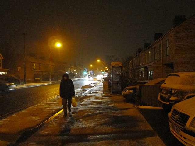 Cherry Hinton Road on a snowy evening in late March