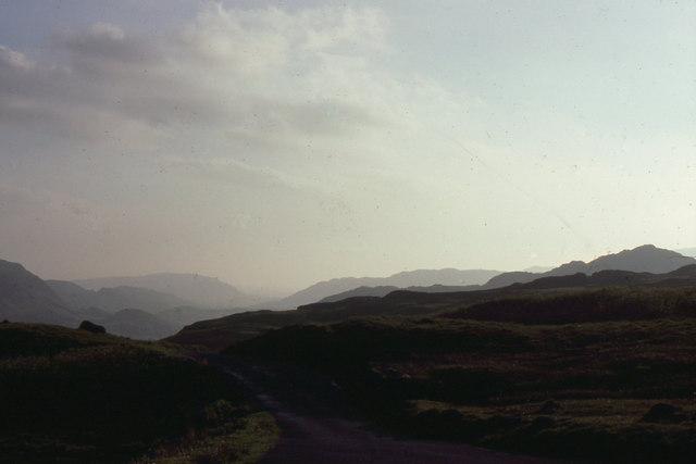 Hard Knott Pass: view westwards at sunset