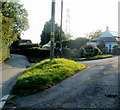 ST3294 : A grass triangle at a road junction, Common Cefn-Ilwyn by Jaggery