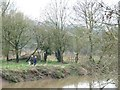 ST6371 : Dog walkers on the west bank of the Avon by Christine Johnstone