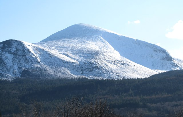 Donard Forest backed by Slieve Donard and its acolyte Thomas's Mountain