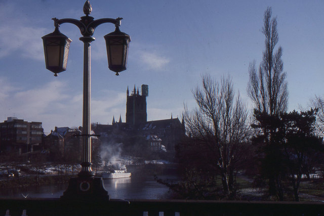 Worcester Cathedral from the Severn Bridge