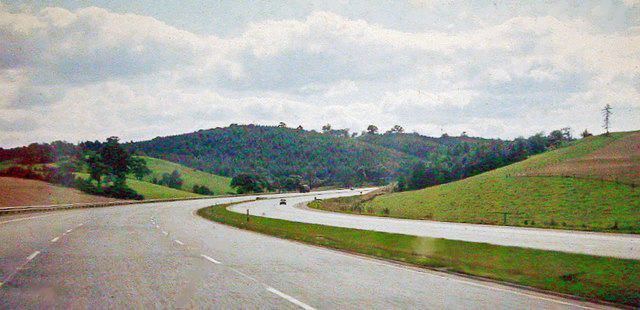 Southbound on almost empty M6 near Madeley Heath, 1965,
