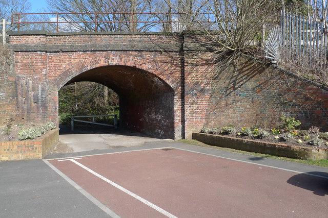 Brick railway arch spanning Brook Road