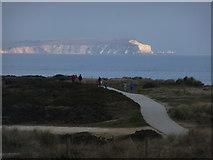 SZ1790 : Hengistbury Head: headland path and Needles view by Chris Downer
