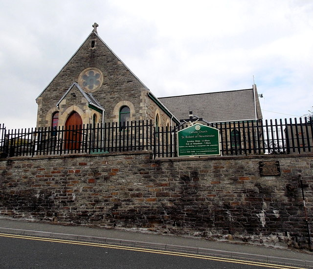 Front view and nameboard of the Catholic church, Aberkenfig