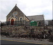 SS8983 : Front view and nameboard of the Catholic church, Aberkenfig by Jaggery
