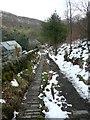SD9926 : Narrow paving on Hebden Bridge Footpath 11 by Humphrey Bolton
