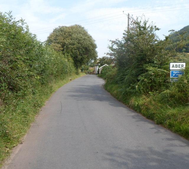 Southern boundary of Aber, Powys