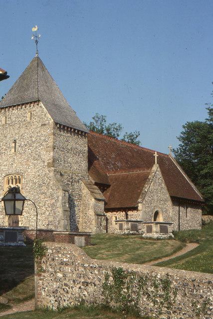 Westdean church from the churchyard gate