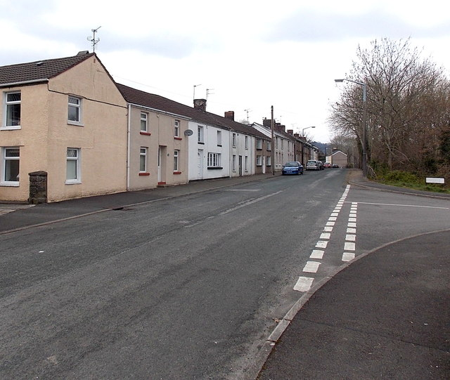 Bridgend Road houses at the southern edge of Aberkenfig