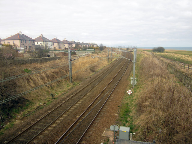 Looking north along the East Coast Mainline, Newfields