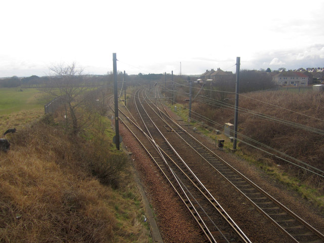 Looking south along the East Coast Mainline, Newfields